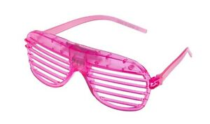 Pink Flashing LED Shutter Glasses Light Up Rave Slotted Party Glow Shades Fun UK