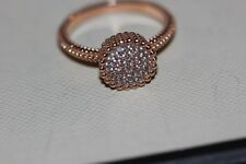Genuine Links of London Rose Gold Vermeil Pure 2 Round White Topaz Ring - Size P