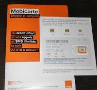 carte sim prepayee orange 4G mobicarte neuves 5e de credits