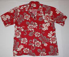 Vintage Red Hilo Hattie Men's Aloha Shirt Cotton Style 502 L Large