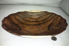 黑柿木整块料荷叶盛盘 山水纹一步一景 手工艺术Natural Antique handwork carved Burl Wooden Bowl dish art