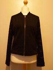 Isaac Mizrahi Live dentelle manches Knit Bomber Jacket Medium Nouveau RRP £ 49.95 Noir