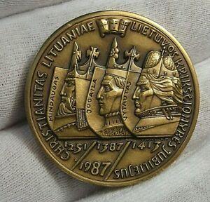 LITHUANIA Medal V. Kasuba 1987 Anniversary of Christianity in Lithuania Bronze.
