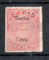Fiji 1872 12c on 6d carmine rose SG15 fine used WS13412