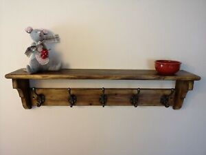 Vintage Pine Coat Rack Hand Made from Reclaimed Pine with Vintage Coat Hooks