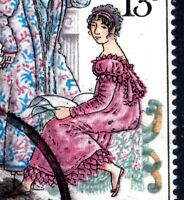 1975 Sg 992var 13p Jane Austen Pink Colour Shift to Right Fine Used