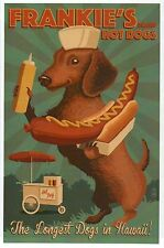 Frankie's Hot Dogs in Hawaii, Dachshund & Hot Dog Cart -- Modern Animal Postcard