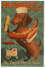 Frankie's Hot Dogs in Hawaii, Dachshund & Hot Dog Cart -- Modern Animal Postcard