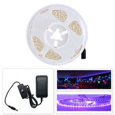 5M UV Schwarzlicht LED Streifen mit Netzteil Strip 300LEDs dimmbar Lichtband 12V