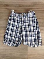 Gap Kids Boys Size 6 Shorts Cargo Plaid Bermuda adjustable waist blue white