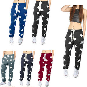 Women Sports Yoga Gym Wear Star Print Trousers Workout Running Fitness Pants