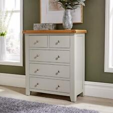 Modern White Solid Wood 2 Over 3 Chest of 5 Drawers Bedroom Furniture Storage