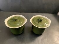Hall 470-1/2 Stoneware Vented-Lid Onion Soup Crock / Bowl, Green Set Of 2 Bowls
