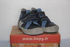 BOPY -  Bistar - Chassures bébé Garçon -  Cuir Bleu et Gris  -  T 22 neuf