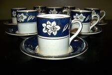 Set of 8 BURLEIGH WARE BONE CHINA ENGLISH DEMITASSE ESPRESSO BLUE CUPS SAUCERS
