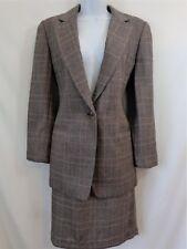 Linda Allard Ellen Tracy Wool Cashmere Silk Brown Plaid Skirt Suit Womens Size 6