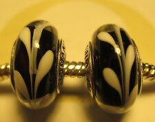 Set  2 Authentic Pandora Silver 925 Black White Swirly Swirl Glass Bead Charm