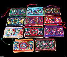 PRETTY 10PCS Mix Handmade Embroidered Flower Zipper Ball Wallet Coin Purses Bags