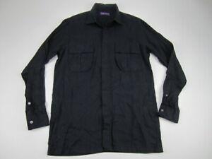 Mens 15 Ralph Lauren Purple Label navy linen button long sleeve shirt