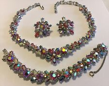 VINTAGE AUSTRIA PINK AND BOREALIS RHINESTONE NECKLACE BRACELET & EARRINGS
