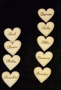 Personalised Wooden Heart for Family Tree Wedding Guestbook 3cm Heart engraved