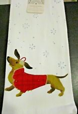 Set of 2 Dachshund Doxie Sausage Dog Holiday Christmas Kitchen Dish Hand Towels