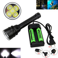 30000LM 5xXM-L2 LED Scuba Diving Flashlight Hunting Torch Lamp Charger W/Battery