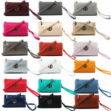 Women Clutch Bag Multi Compartment Pocket Cross Body Purse With Wrist Long Strap