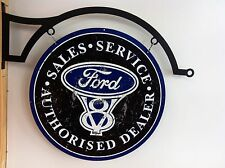 FORD V8 TIN METAL SIGN WITH HANGER DBL SIDED  BAR MAN CAVE HOT ROD