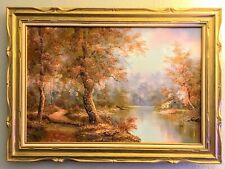 "Irene Cafieri Signed Oil Painting on Canvas Framed 36"" x 24"" Amazing Colors"