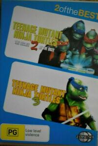 TEENAGE MUTANT NINJA TURTLE 2 & 3 DVD (PAL, 2 Disc Set, 2009) Free Post