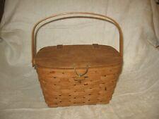 Vintage Wooden garden Basket / purse with lid & swing handle Wood  rustic