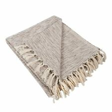 """DII Rustic Farmhouse Cotton Variegated Blanket Throw 50 x 60"""" - Variegated Brown"""