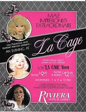 15 1980's Evening La Cage Riviera Brochures Coupons ads Hotel Casino Las Vegas f