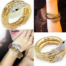 Women Vintage Retro Punk Rhinestone Curved Jewelry Snake Cuff Bangle Bracelet
