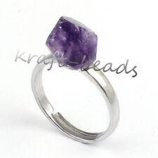 Natural Druzy Amethyst Quartz Crystal Stone Adjustable Reiki Stone Finger Ring
