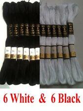 6 White / Black Anchor Cross Stitch Cotton Crochet Embroidery Floss Thread Skien