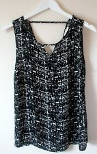 Louche Graham Black & Ivory Print Floaty Sleeveless Vest Blouse SIZE XS UK 8