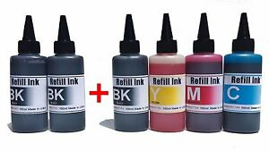 Extra Black 600ml Bulk refill ink + Needles HP Canon Brother Dell Epson 6x100