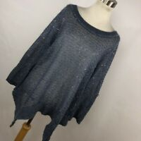 Soft Surroundings S Small Sweater Blue Button Open Back Embellished Womens R4M