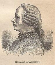 A9105 Giovanni d'Alembert - Xilografia - Stampa Antica del 1906 - Engraving