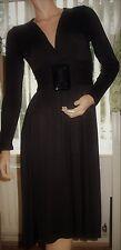IBO LONDON Black V Neck Long Sleeve Large Buckle Business Dress Size 16 BNWT