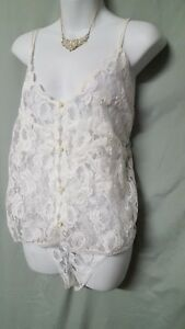 """Ventura WHITE Camisole Panty SIZE 3X WOMENS LACE BRIDAL GIFT 56"""" BUST"""
