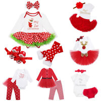 New Christmas Baby Girls Outfit Set Toddler Top Tutu Skirt Party Kids Clothes