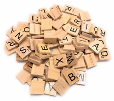 200 Wooden Scrabble Tiles Black Letters & Numbers for Crafts UK SELLER