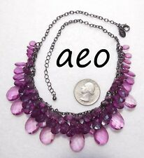 Signed AEO Bib Necklace, Amethyst Purple Dangle Acrylic Crystals, Gunmetal Mesh