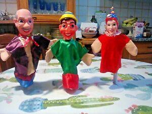 Pinocchio Geppetto e la Fata: tre burattini di manifattura italiana.