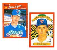 Nolan Ryan #659 & 665 (1990 Donruss) 5000 Ks & King of Kings, Error Wrong Backs