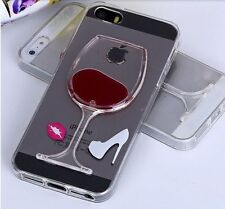 For iPhone SE - TPU Rubber Gummy Skin Case Red Wine Glass Alcohol with