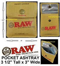 "LOT OF 10 - RAW Cigarette Rolling Papers Brand Pocket Ashtray (Size 3 1/2"" x 3"")"